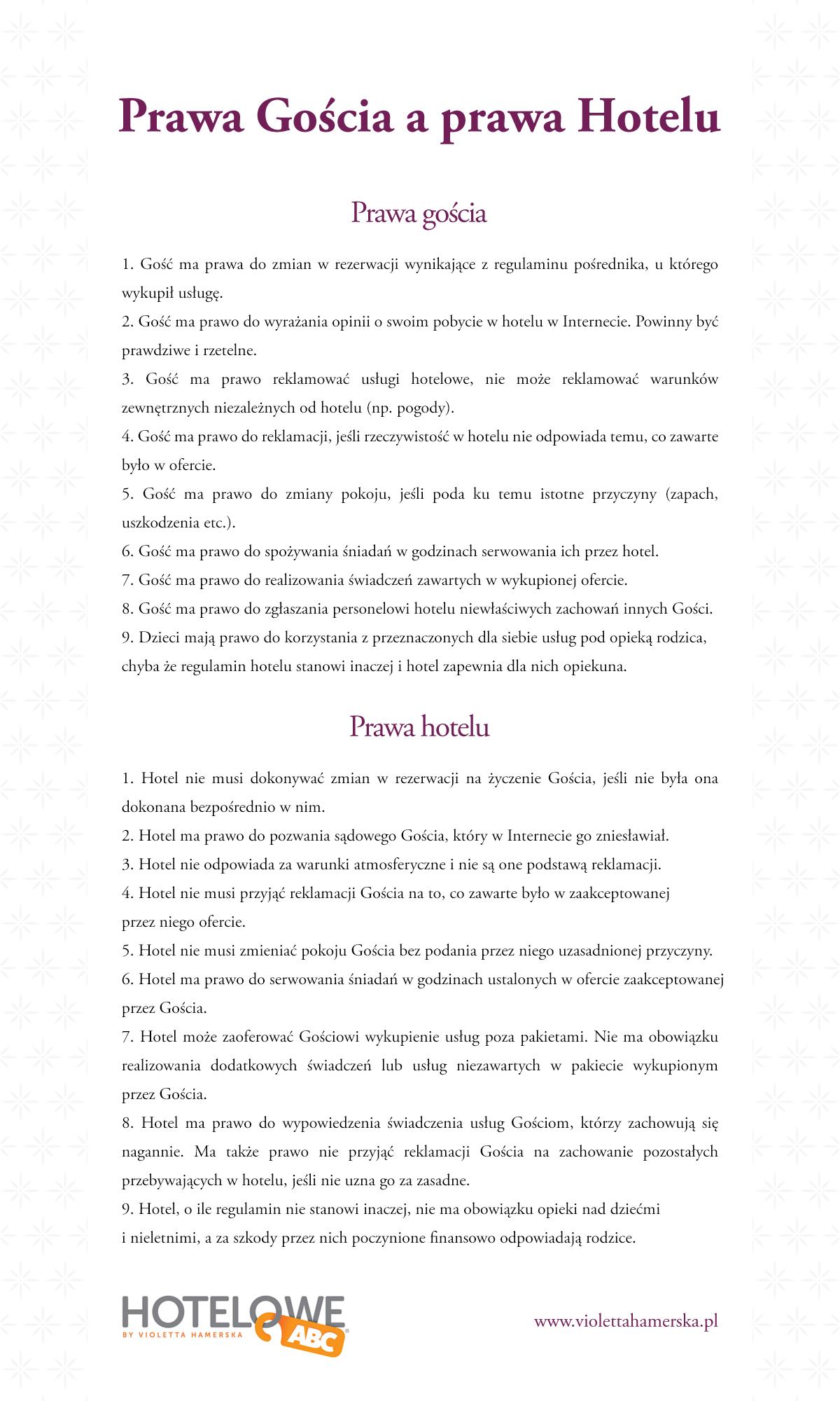 infografika: prawa gościa i hotelarza